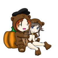 Audi: Chibi Milo + CherBear in Bear Suits by mscherbear