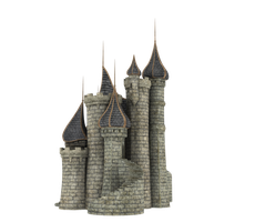 3d Fantasy Castle Stock Parts #35 side and back by madetobeunique