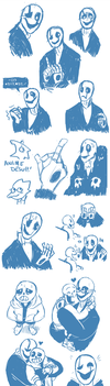 WD Gaster SketchDump by Itachei