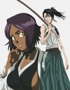 Yoruichi and Byakuya-bo by panna-mruczanka