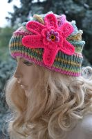 Pink and multicolor knitted cap in flower by dosiak