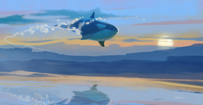 Another flying whale by Paperbag-Ninja