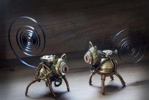 2 Little Steampunk cat sculptures. by CatherinetteRings
