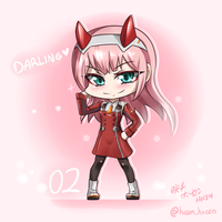 Darling in the Franxx - Chibi Zero Two by HOSEN-HOSEN-HOCEN
