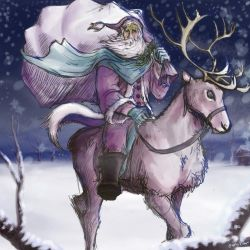 Santa Riding on Reindeer by radioactiveroach