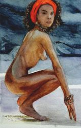 Study of body 'n black skin - watercolor by Glaubart