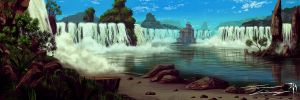 The temple of godly falls by RavenseyeTravisLacey