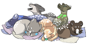 Gift Art - Sleepy Evoloons by blogybo