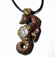 Steampunk Polymer Clay Seahorse Pendant by Create-A-Pendant