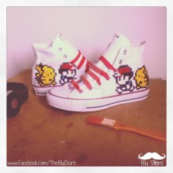 f1fdf6dfc947 tysonhesse 158 42 Ash (Red) and Pikachu Custom Converse by Houggiebear