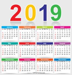 Colorful 2019 Calendar Free Vector by 123freevectors