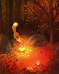 Fox and Magical Flower by LilaCattis