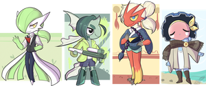 Anthro Pokemon adopts 1/4 OPEN by Lighterium