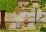 Homer And Lisa At Busstop by ChnProd22