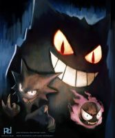 Pokemon - Ghastly, Haunter and Gengar by patrickdeza
