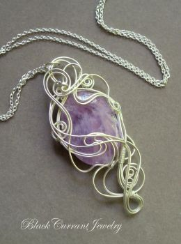 Lavender Amethyst Pendant with Sterling Silver by blackcurrantjewelry