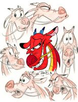 Mushu Expressions doodle page by tombancroft