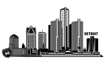 Detroit Cityscape Vector Design by wall-decal-shop