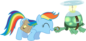 Rainbow Dash and Tank snuggle by thatguy1945