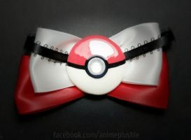 Pokeball Hair Bow by SarahsPlushNStuff