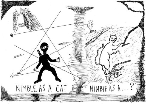 nimble as a cat cartoon by amazingn3ss