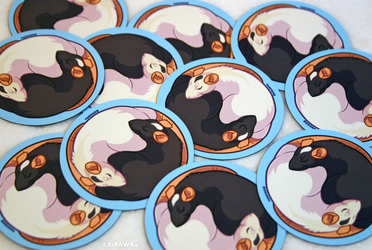 Yin Yang Rat MAGNETS by KiRAWRa
