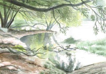 Lake Claremont: First Watercolour by napalmnacey