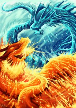 Ice dragon vs Fire dragon by michellescribbles