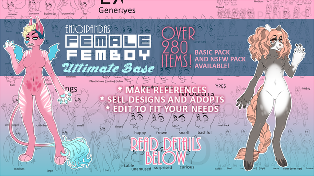 FEMALE + FEMBOY BASE PACK (plus humans) by King-Hime