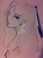 Elf Maiden Sketch by xXPink-Kitten1023Xx