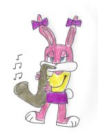 Babs Bunny playing a saxaphone by dth1971