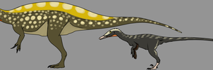 Irritator and Austroraptor by StygimolochSpinifer