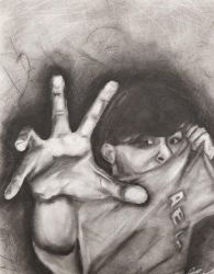 RUN WHILE YOU STILL CAN!! - Charcoal Self Portrait by NorcaBot