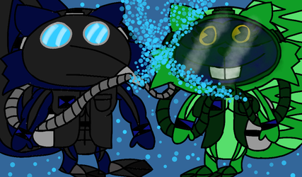 Alfonso and Christy scuba diving by CraftytheRaccoonHTF