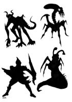 Creature Silhouettes by Llewxam888