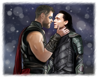 COMMISSION - Thor and Loki - About to kiss by LadyMintLeaf