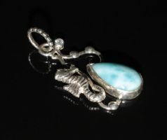 Seahorse silver pendant with larimar by nataliakhon
