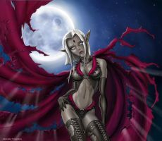 Dark Elf in Moonlight by CamT