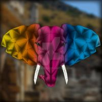 Polygonelephant - colorful by SimmeGreen