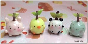 Polymer Clay Animal Sprouts by tokai-chan