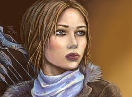 Lara Croft from Rise of the Tomb Raider in color by alineshenon