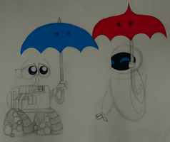 Wall-E + Eve - The Blue Umbrella by PuccaFanGirl