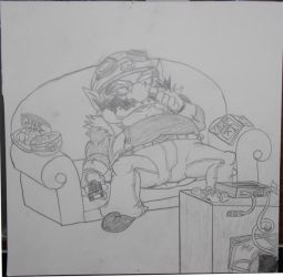 17 Wario Watching TV by AngstyGuy