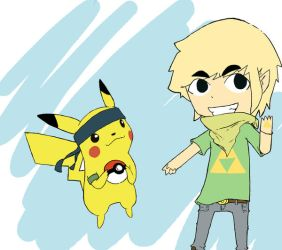 pikachu and toon link by pi-ka