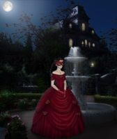 Roxanne in red masquerade gown by Arrelline