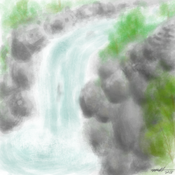 Daily Art Challenge #216: Rocky Waterfalls by SnowCrasher