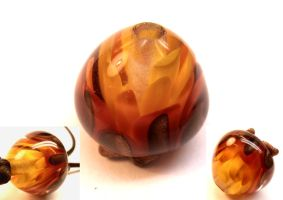 Firebloom lampwork bead by fairyfrog