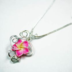 Wire Wrap Clay Flower Pendant by Create-A-Pendant