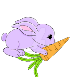 purple bunny with carrot by stockmichelle