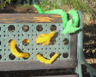 Pipe Foxes Yellow and Green by rallamajoop